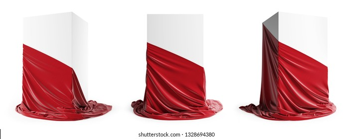Set of presentation pedestal with a red silk cloth. Isolated on a white background with clipping path.  3D illustration