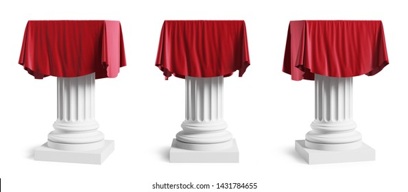 Set of presentation pedestals with a red silk cloth. Isolated on a white background with clipping path. 3d illustration