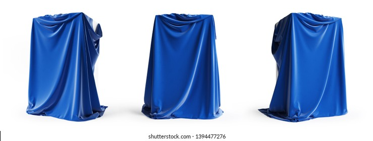 Set of presentation podiums with a blue silk cloth. Empty podium with tablecloth isolated on a white background with clipping path. 3d illustration