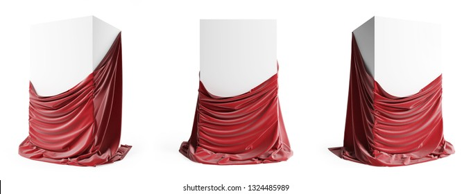 Set of presentation podiums with a red silk cloth. Empty podium with tablecloth isolated on a white background with clipping path. 3d illustration
