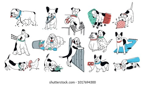 Set of problem with bad dog behaviour collection. Silly puppy barks, run off, goes to the toilet, digs in the garbage. Colorful doodle set. Cute hand drawn illustrations on white background