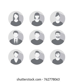 Set of profile icons for men and women. bitmap