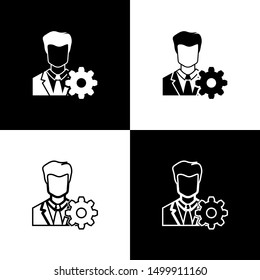 Set Profile settings icons on black and white background. User setting icon. Profile Avatar with cogwheel sign. Account icon. Male person silhouette. Line, outline and linear icon