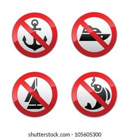 Set prohibited signs - fishing