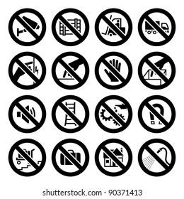 Set prohibited symbols, industrial hazard black signs. Bitmap copy my vector ID 87225820
