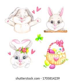 Set of rabbits Light Easter-illustration