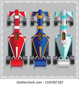 Set of racing cars. View from above. Raster version.