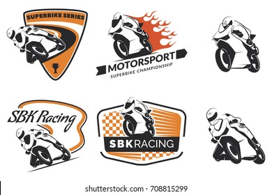 Set of racing motorcycle logo, badges and icons. Motorcycle repair, service and motorcycle club design elements. Superbike racing team logo.
