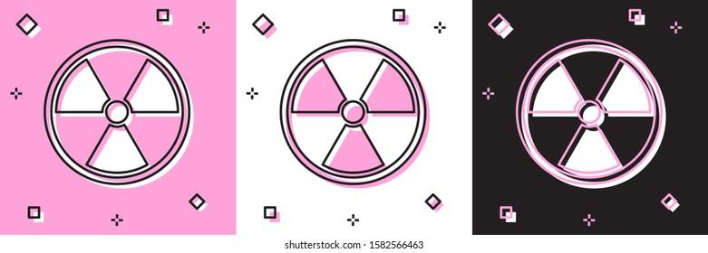Set Radioactive icon isolated on pink and white, black background. Radioactive toxic symbol. Radiation Hazard sign.