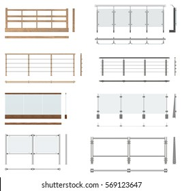 Set of railing fences. Front view, top view, side view. Isolated on white background.