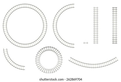 Set railways, isolated on a white background to create your image, top view. 3d illustration high resolution