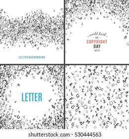 Set of random letters patterns. Abstract background with alphabet. Creative wallpaper design in office style. Mix of letter. Latin ABC. Promotion of reading publishing and copyright. collection
