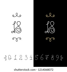 Set of raster calligraphy numbers from 0 to 9. Lined ornate monogram. Vintage ink lettering. Isolated on white and black backgrounds.