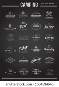 Set of Raster Camping Camp Elements With Fictitious Names and Outdoor Activity Icons Illustration can be used as Logo or Icon in premium quality