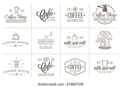 Set of Raster Coffee Elements and Coffee Accessories Illustration can be used as Logo or Icon in premium quality