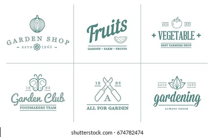 Set of Raster Garden and Farm Elements and Fruits or Vegetables Icons Illustration can be used as Logo or Icon in premium quality