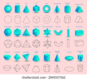 Set of realistic 3D blue geometric shapes isolated on pink background. Mathematics of geometric shapes, linear objects, contours. Platonic solid. Icons, logos for education, business, design.