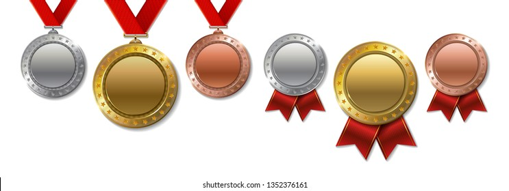 Set of realistic 3d Champion gold, silver and bronze award  