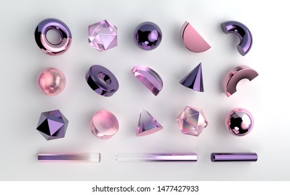 Set of realistic 3d geometric shapes on white background. Purple and pink gemstones and violet metallic elements. Spheres, hexagons, cones, tubes, torus elements in transparent gradient design.