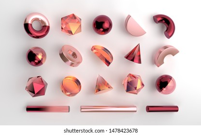 Set of realistic 3d geometric shapes on white background. Red and orange gemstones and rose gold metallic elements. Spheres, hexagons, cones, tubes, torus elements in transparent gradient design.