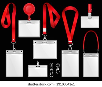 Set of realistic badges id cards on red lanyards with strap clips, cord and clasps illustration