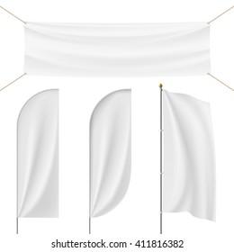 Set of realistic banner, flag, flagpole, Flagstaff isolated on white background. Stock illustration.