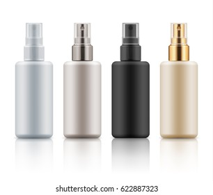 Set with realistic blank templates of plastic spray bottles. Mockup of cosmetic packages - empty and clean plastic containers: moisture lotion, essence or cream. Illustration isolated on white