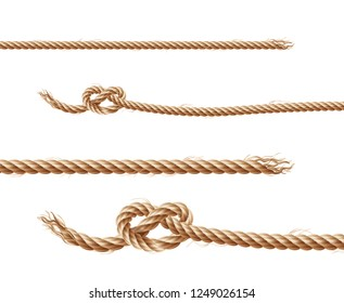 set of realistic brown ropes, jute or hemp twisted cords with loops and knots, isolated on white background. Clipart of various twines, decorative elements for borders and frames