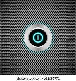 Set of  realistic buttons on metallic grid background
