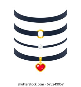 Set of realistic choker necklaces illustration. Fashion jewelry with pearl and gold heart pendant.