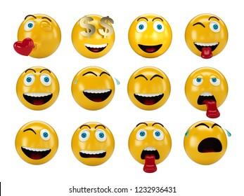 Set of realistic emoji, 3d illustration icons. Mood, emotions, emoticons. Isolated on white background