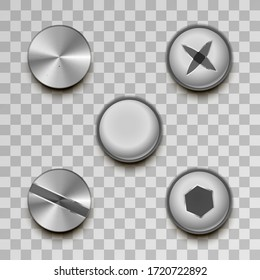 Set of realistic glossy metal screws and rivets on transparent background