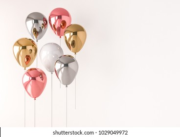 Set of realistic glossy metallic balloons with empty space for birthday, party, promotion social media banners or posters. 3d render illustration. International Women's Day theme.