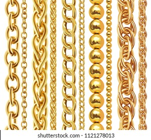 Set of realistic golden chains. illustration of gold links isolated on white background