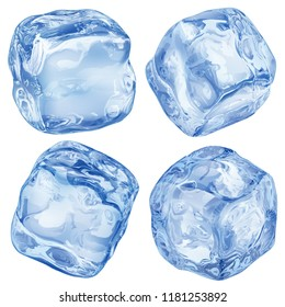 Set of realistic ice cubes in blue color on white background