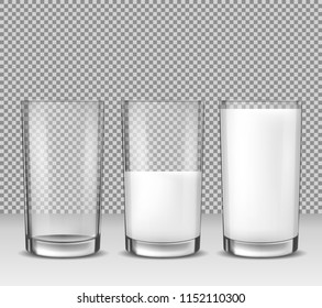Set of realistic illustrations, isolated icons, glass glasses empty, half full and full of milk, dairy product, yogurt, kefir, protein cocktail. Print, template, design element