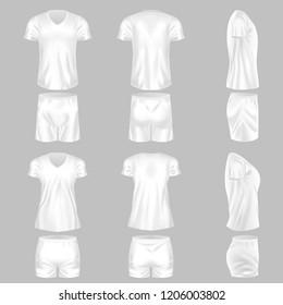 Set of realistic mockup, men and women t-shirt and fashion shorts. Sports short shorts, sleeve short t-shirt, football t-shirt. Template fashion clothes mockup tshirt. Front view. illustration.
