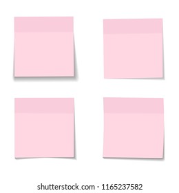 set of realistic paper pink memo sheets