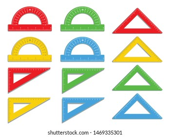 Set of realistic plastic colorful protractors and triangle ruler icon. Math measure tool in inch and centimeters. Instrument for measuring angles. School supplies. Office supply