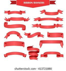 Set of realistic red gradient ribbons for your text