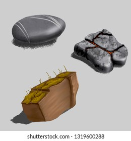 Set of realistic rocks. Isolated on white. Design element. Raster illustration.