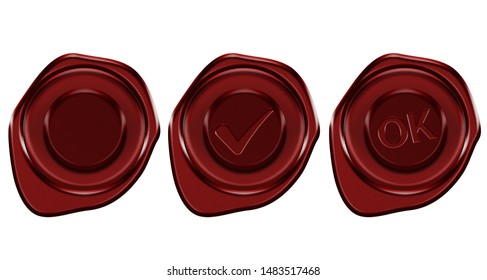 Set of realistic stamps. Top view. Graphic element. Red wax Seal