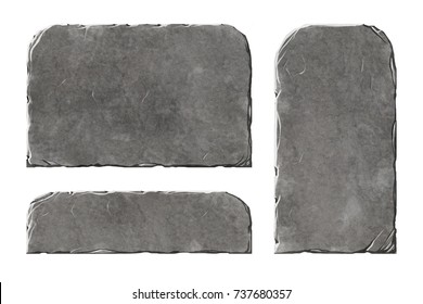 Set of realistic stone elements panels and tablets