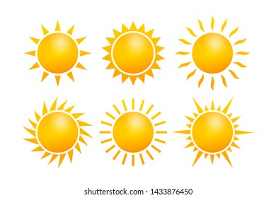 Set Realistic sun icon for weather design on white background. stock illustration.
