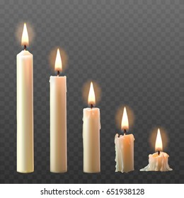 set of realistic white burning candles isolated on a transparent background. Candles with melted wax on different combustion stage