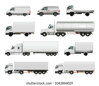 Set of realistic white cargo vehicles including heavy trucks with various trailers, lorries, vans isolated  illustration