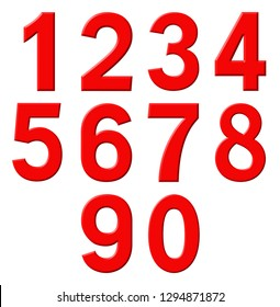 Set of red arabic numbers, isolated on white background, 3d illustration