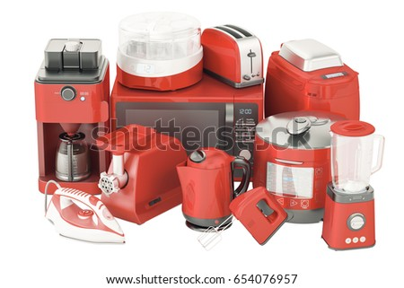 Set Red Kitchen Home Appliances Toaster Stock Illustration 654076957