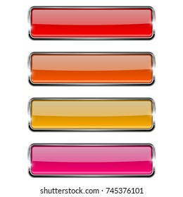 Set of red rectangle glass buttons with metal frame. 3d illustration isolated on white background. Raster version