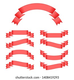Set of red  ribbons banners on white background. Simple flat  illustration. With space for text. Suitable for infographics, design, advertising, holidays, labels.